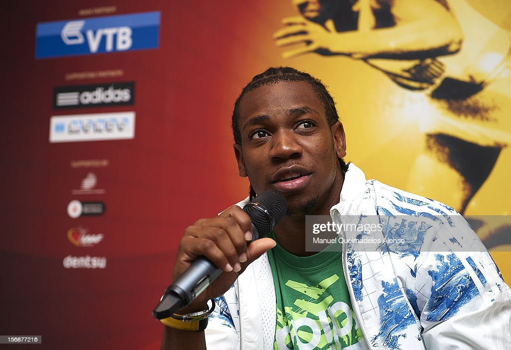 <a gi-track='captionPersonalityLinkClicked' href=/galleries/search?phrase=Yohan+Blake&family=editorial&specificpeople=2172755 ng-click='$event.stopPropagation()'>Yohan Blake</a> of Jamaica in press conference during the the preview day of the IAAF Athlete of the Year Award at the IAAF Centenary Gala on November 23, 2012 in Barcelona, Spain.