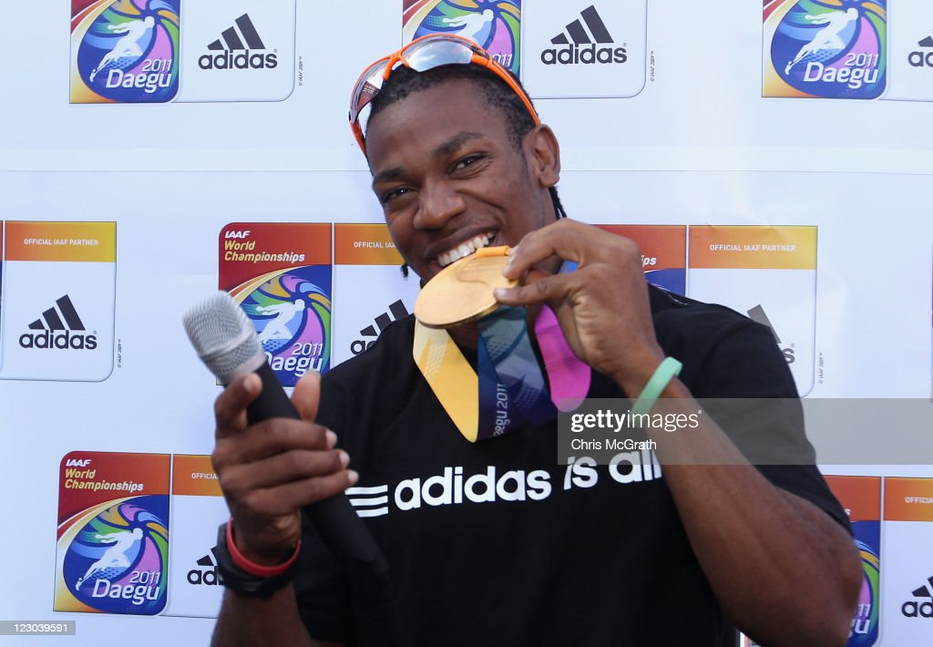 <a gi-track='captionPersonalityLinkClicked' href=/galleries/search?phrase=Yohan+Blake&family=editorial&specificpeople=2172755 ng-click='$event.stopPropagation()'>Yohan Blake</a> of Jamaica poses with his 100 metres gold medal during a press conference on day four of the 13th IAAF World Athletics Championships Daegu 2011 on August 30, 2011 in Daegu, South Korea.