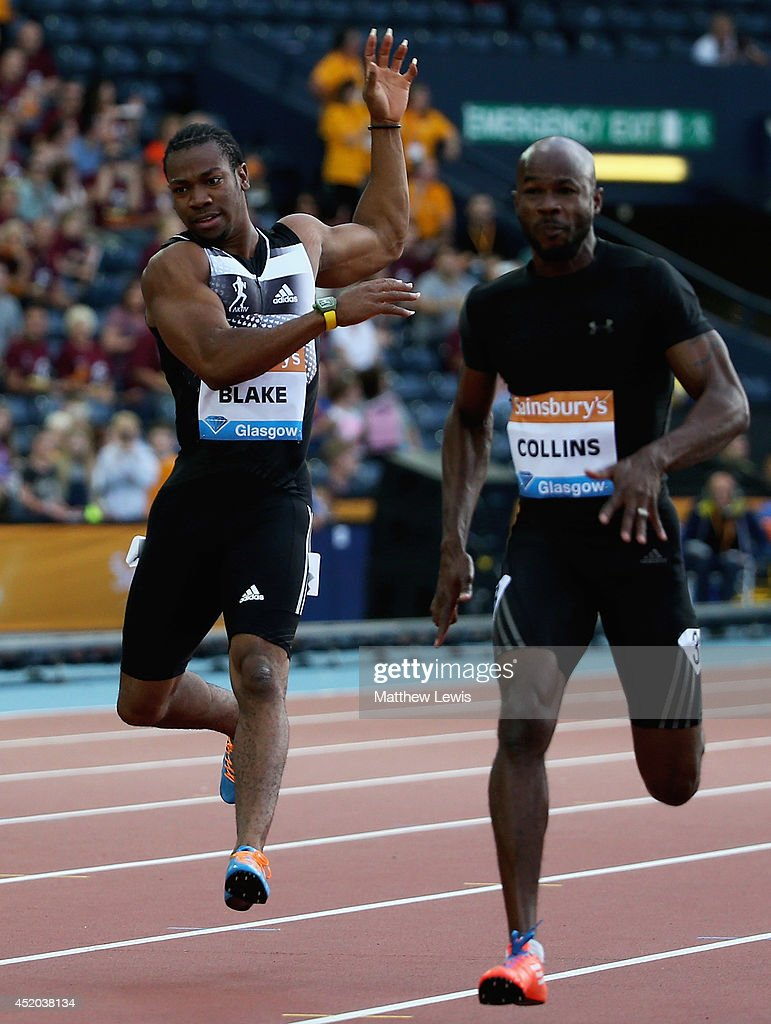 <a gi-track='captionPersonalityLinkClicked' href=/galleries/search?phrase=Yohan+Blake&family=editorial&specificpeople=2172755 ng-click='$event.stopPropagation()'>Yohan Blake</a> of Jamaica pulls up in the Mens 100m Final with a hamstring injury during day one of the Diamond League Sainsbury's Glasgow Grand Prix at Hampden Park on July 11, 2014 in Glasgow, Scotland.