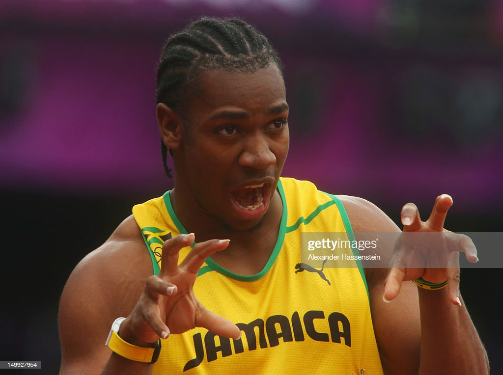<a gi-track='captionPersonalityLinkClicked' href=/galleries/search?phrase=Yohan+Blake&family=editorial&specificpeople=2172755 ng-click='$event.stopPropagation()'>Yohan Blake</a> of Jamaica reacts after competing in the Men's 200m Round 1 Heats on Day 11 of the London 2012 Olympic Games at Olympic Stadium on August 7, 2012 in London, England.