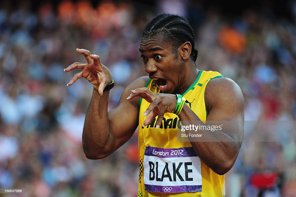 <a gi-track='captionPersonalityLinkClicked' href=/galleries/search?phrase=Yohan+Blake&family=editorial&specificpeople=2172755 ng-click='$event.stopPropagation()'>Yohan Blake</a> of Jamaica 'roars' prior to the Men's 200m semi final on Day 12 of the London 2012 Olympic Games at Olympic Stadium on August 8, 2012 in London, England.