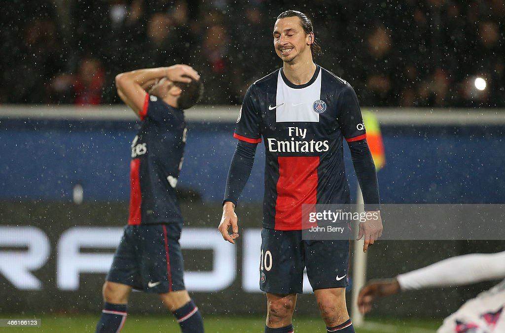 <a gi-track='captionPersonalityLinkClicked' href=/galleries/search?phrase=Yohan+Cabaye&family=editorial&specificpeople=648909 ng-click='$event.stopPropagation()'>Yohan Cabaye</a> and <a gi-track='captionPersonalityLinkClicked' href=/galleries/search?phrase=Zlatan+Ibrahimovic&family=editorial&specificpeople=206139 ng-click='$event.stopPropagation()'>Zlatan Ibrahimovic</a> of PSG react during the Ligue 1 match between Paris Saint-Germain FC and FC Girondins de Bordeaux at the Parc des Princes stadium on January 31, 2014 in Paris, France.