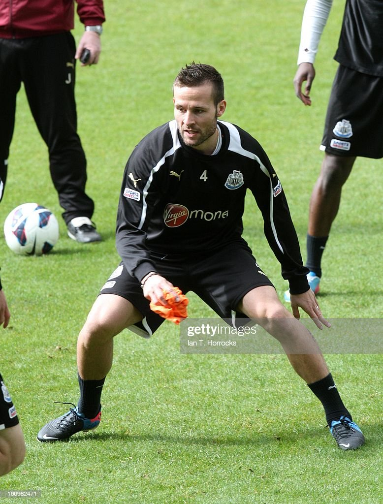 <a gi-track='captionPersonalityLinkClicked' href=/galleries/search?phrase=Yohan+Cabaye&family=editorial&specificpeople=648909 ng-click='$event.stopPropagation()'>Yohan Cabaye</a> during a Newcastle United training session at St James' Park on April 19, in Newcastle upon Tyne, England.