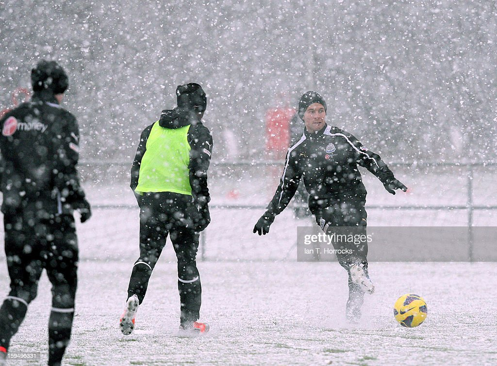 <a gi-track='captionPersonalityLinkClicked' href=/galleries/search?phrase=Yohan+Cabaye&family=editorial&specificpeople=648909 ng-click='$event.stopPropagation()'>Yohan Cabaye</a> in action during a Newcastle United training session at the Little Benton Training Ground on January 14, 2013 in Newcastle upon Tyne, England.