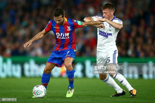 Yohan Cabaye of Crystal Palace and Ben Morris of Ipswich during the Carabao Cup Second Round match between Crystal Palace and Ipswich Town at...