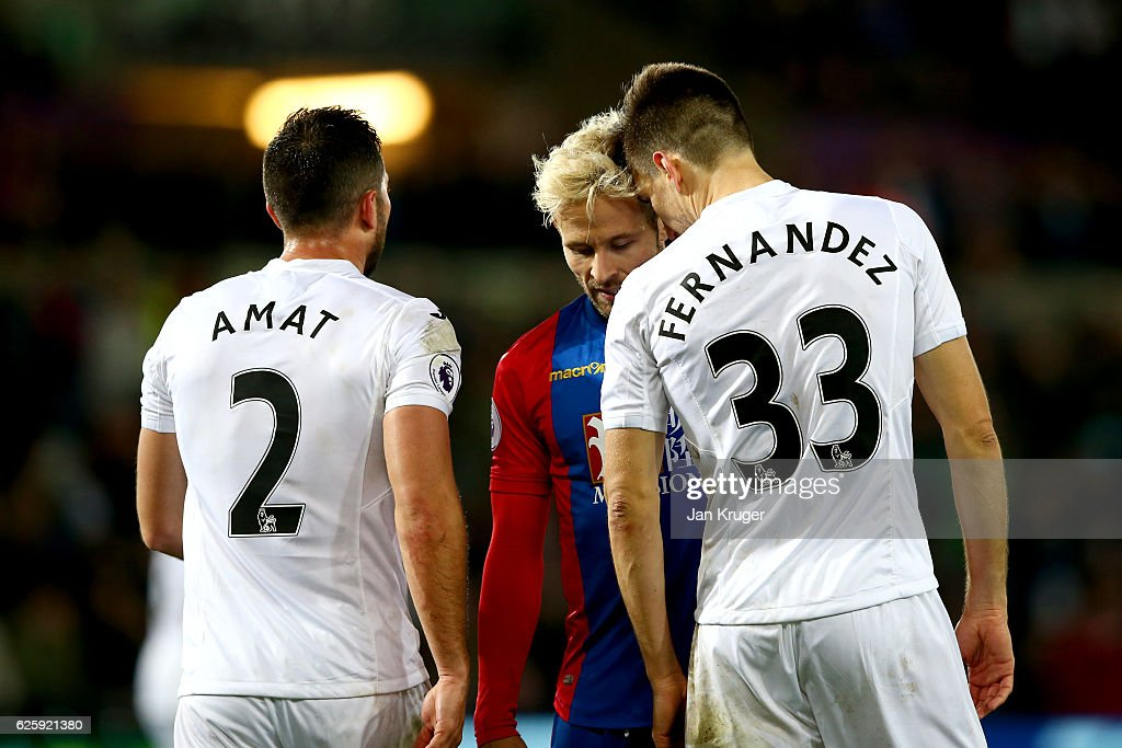 Yohan Cabaye of Crystal Palace and Federico Fernandez of Swansea City square off during the Premier League match between Swansea City and Crystal Palace at Liberty Stadium on November 26, 2016 in Swansea, Wales.