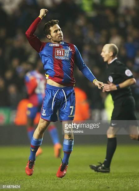 Yohan Cabaye of Crystal Palace celebrates as he scores their first goal from the penalty spot during the Emirates FA Cup sixth round match between...