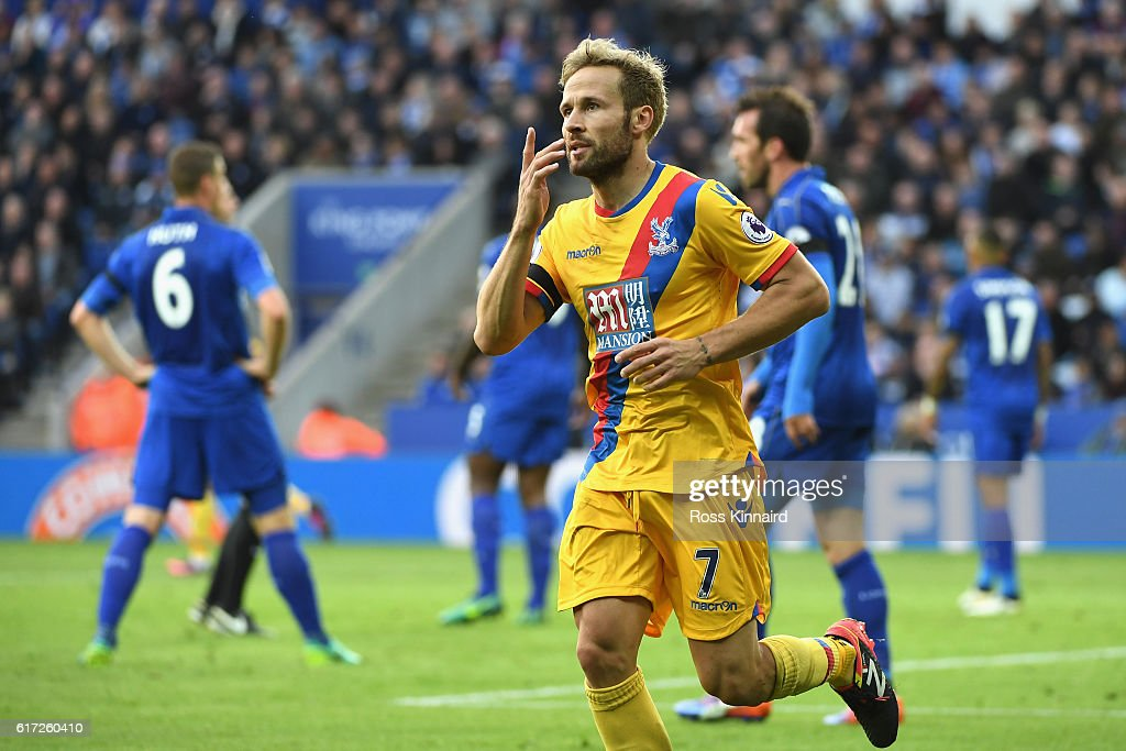 Yohan Cabaye of Crystal Palace celebrates scoring his sides first goalduring the Premier League match between Leicester City and Crystal Palace at The King Power Stadium on October 22, 2016 in Leicester, England.