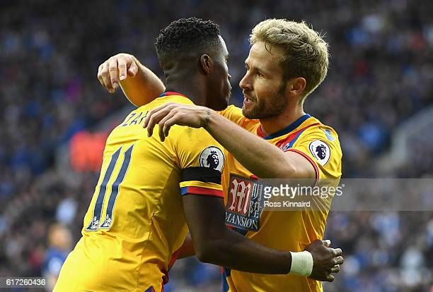 Yohan Cabaye of Crystal Palace celebrates scoring his sides first goal with his team mate Wilfried Zaha of Crystal Palace during the Premier League...