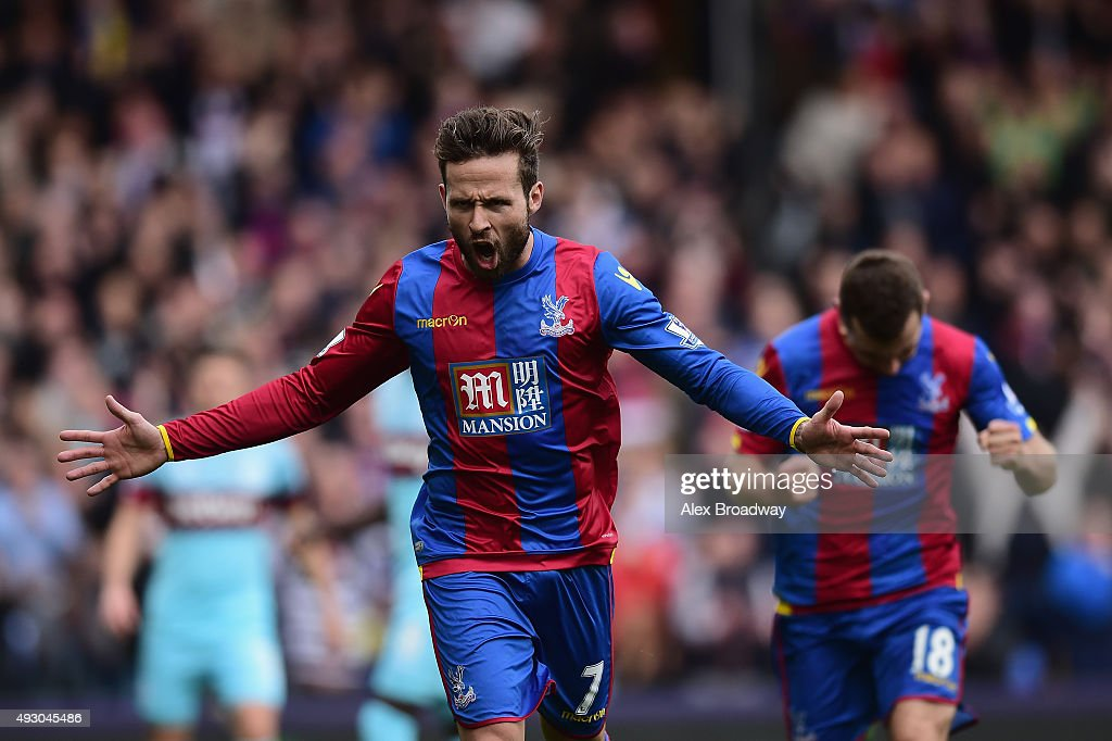 <a gi-track='captionPersonalityLinkClicked' href=/galleries/search?phrase=Yohan+Cabaye&family=editorial&specificpeople=648909 ng-click='$event.stopPropagation()'>Yohan Cabaye</a> of Crystal Palace celebrates scoring his team's first goal from the penalty spot during the Barclays Premier League match between Crystal Palace and West Ham United at Selhurst Park on October 17, 2015 in London, England.