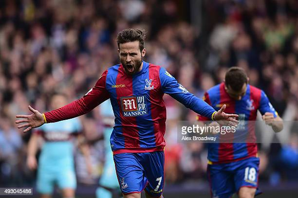 Yohan Cabaye of Crystal Palace celebrates scoring his team's first goal from the penalty spot during the Barclays Premier League match between...