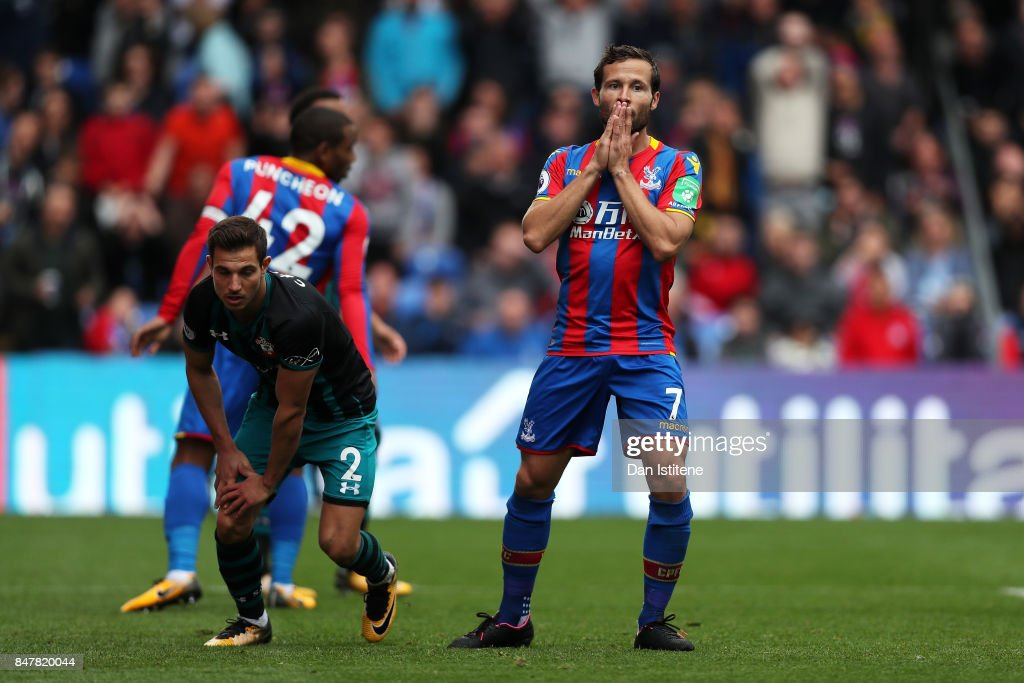 Yohan Cabaye of Crystal Palace reacts during the Premier League match between Crystal Palace and Southampton at Selhurst Park on September 16, 2017 in London, England.