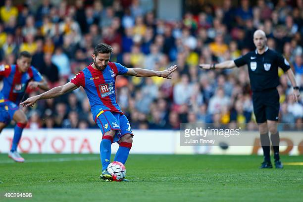 Yohan Cabaye of Crystal Palace scores a penalty to make it 10 during the Barclays Premier League match between Watford and Crystal Palace at Vicarage...