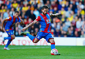 Yohan Cabaye of Crystal Palace scores their first goal from a penalty during the Barclays Premier League match between Watford and Crystal Palace at...