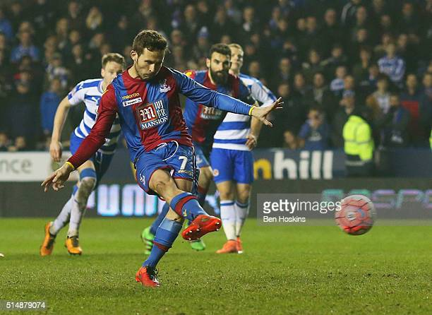 Yohan Cabaye of Crystal Palace scores their first goal from the penalty spot during the Emirates FA Cup sixth round match between Reading and Crystal...