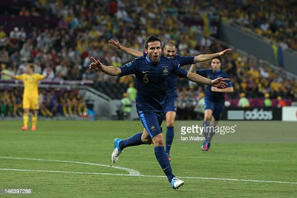 Yohan Cabaye of France ceelbrates scoring their second goal during the UEFA EURO 2012 group D match between Ukraine and France at Donbass Arena on...