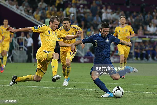 Yohan Cabaye of France scores the second goal past Oleh Gusev of Ukraine during the UEFA EURO 2012 group D match between Ukraine and France at...