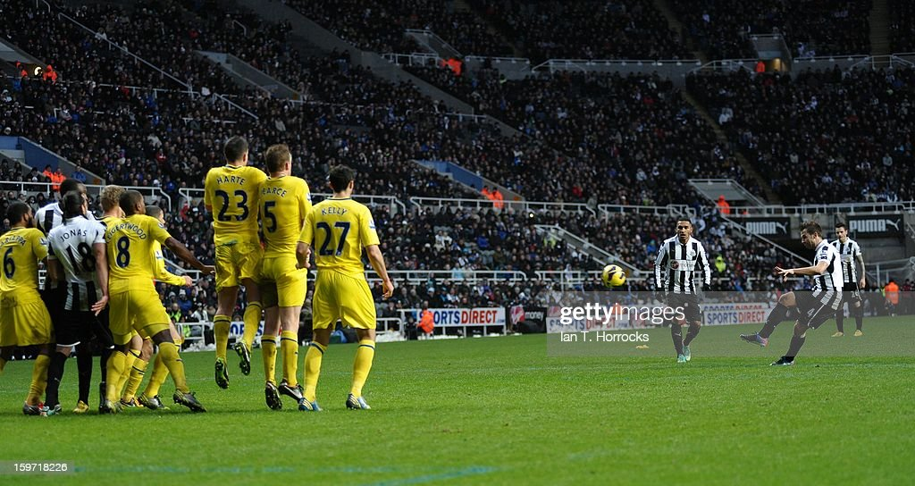 Yohan Cabaye of Newcastle scores the opening goal during the Barclays Premier League match between Newcastle United and Reading at St James' Park on January 19, 2013 in Newcastle upon Tyne, England.