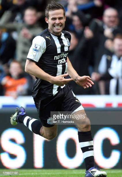 Yohan Cabaye of Newcastle United celebrates after scoring the 10 goal during the Barclays Premier League match between Newcastle United and Wigan...