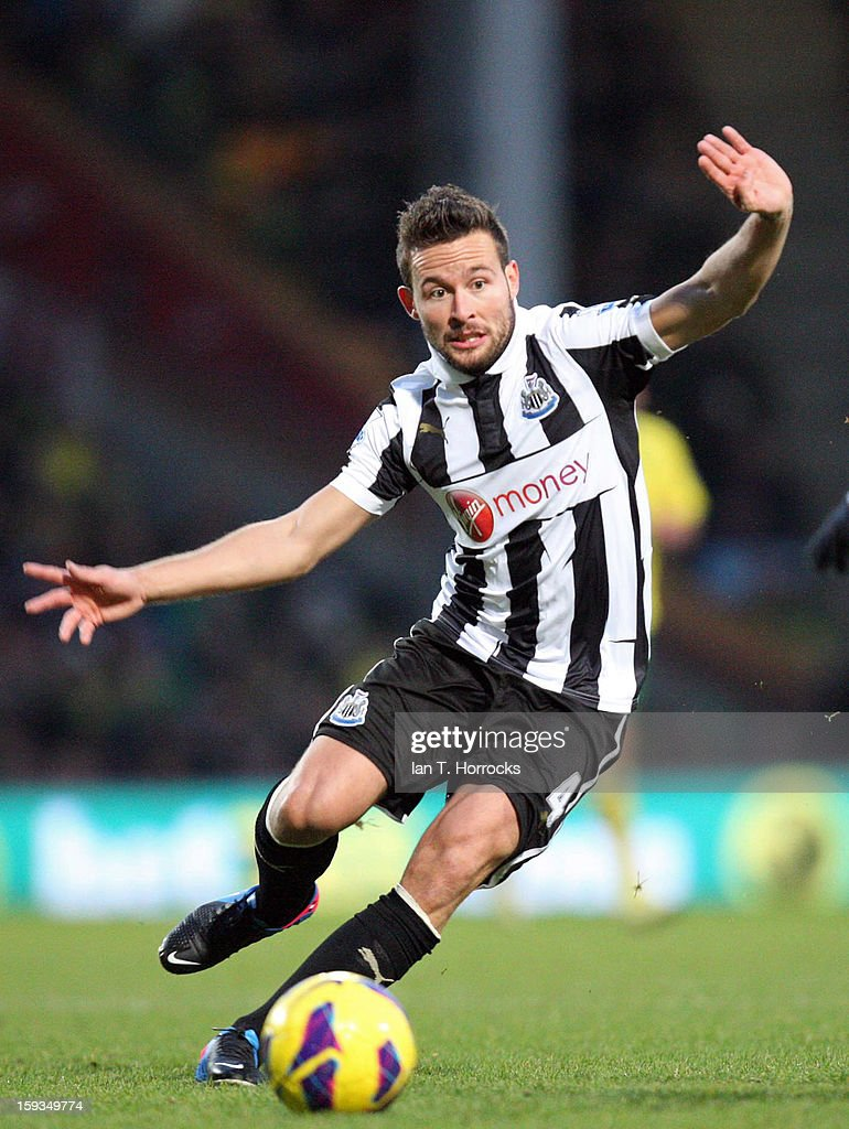 <a gi-track='captionPersonalityLinkClicked' href=/galleries/search?phrase=Yohan+Cabaye&family=editorial&specificpeople=648909 ng-click='$event.stopPropagation()'>Yohan Cabaye</a> of Newcastle United during the Barclays Premier League match between Norwich City and Newcastle United at Carrow Road on January 12, 2013 in Norwich, England.