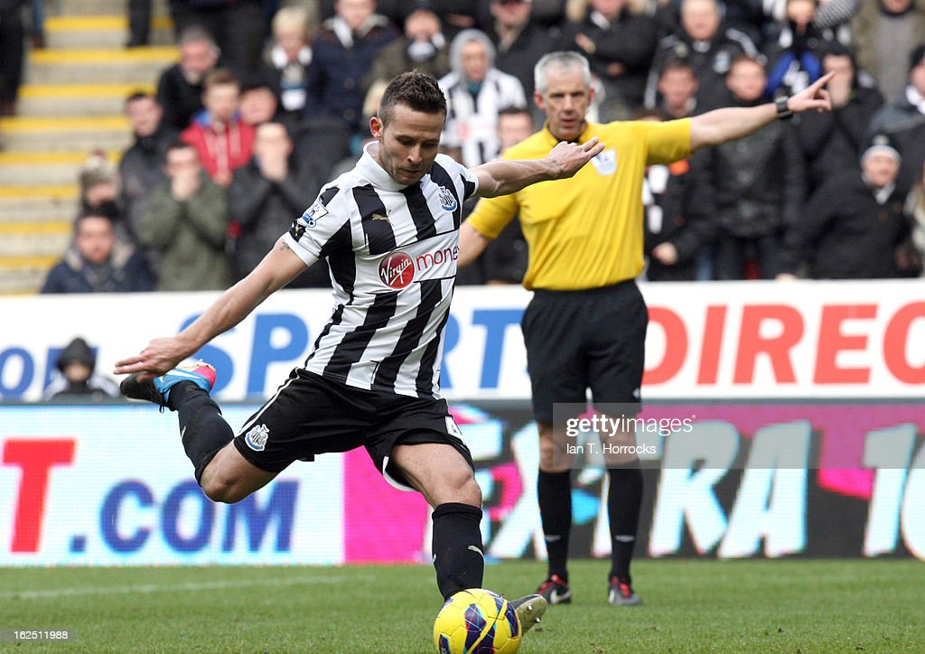 Yohan cabaye of Newcastle United scores from the penalty spot during the Barclays Premier League match between Newcastle United and Southampton at St James' Park on February 24, 2013 in Newcastle upon Tyne, England.