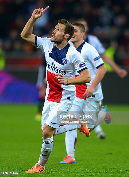 Yohan Cabaye of PSG celebrates after scoring their fourth goal during the UEFA Champions League Round of 16 first leg match between Bayer Leverkusen...
