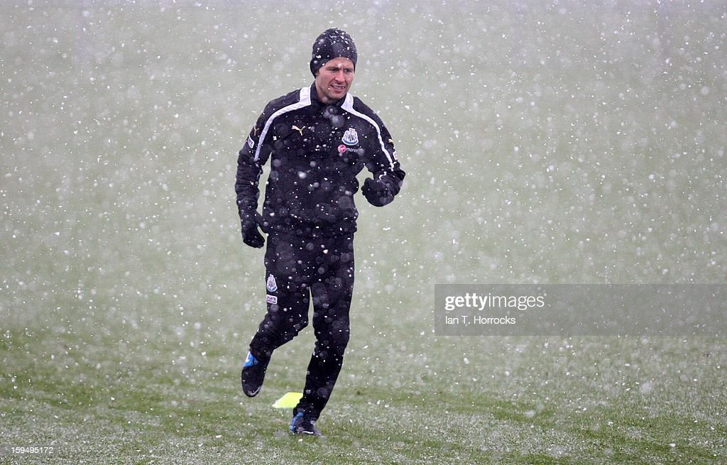 <a gi-track='captionPersonalityLinkClicked' href=/galleries/search?phrase=Yohan+Cabaye&family=editorial&specificpeople=648909 ng-click='$event.stopPropagation()'>Yohan Cabaye</a> runs during a Newcastle United training session at the Little Benton Training Ground on January 14, 2013 in Newcastle upon Tyne, England.