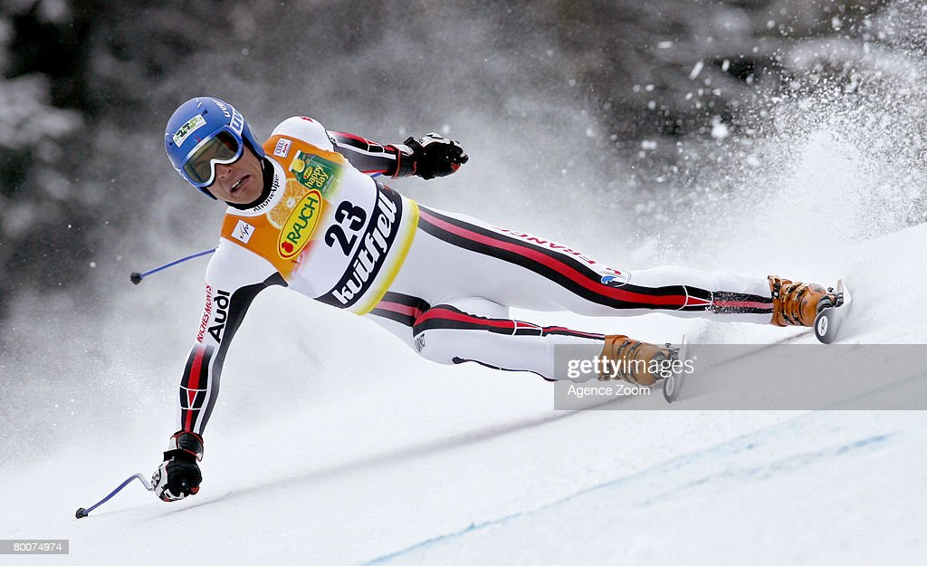 .Yohan Clarey of France takes 16th place during the Alpine FIS Ski World Cup. Men's Downhill on March 01, 2008 in Kvitfjell, Norway.