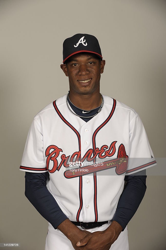 Yohan Flande (80) of the Atlanta Braves poses during Photo Day on Wednesday, February 29, 2012 at Champion Stadium in Lake Buena Vista, Florida.