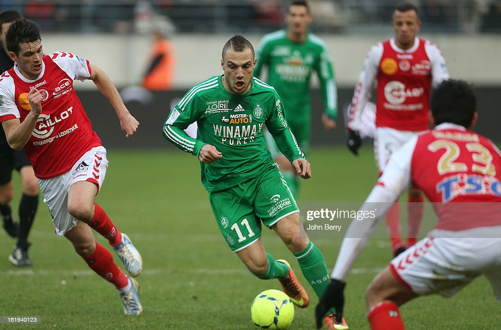 Yohan Mollo of ASSE in action during the french Ligue 1 match between Stade de Reims and AS Saint-Etienne at the Stade Auguste Delaune on February 17, 2013 in Reims, France.