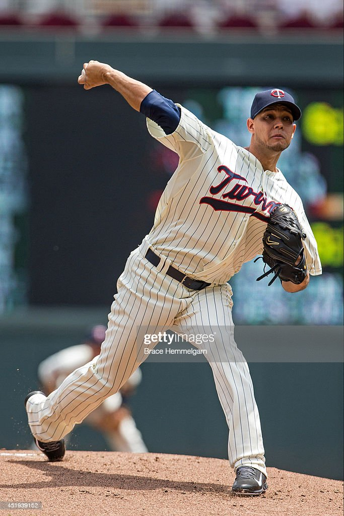 Yohan Pino #63 of the Minnesota Twins pitches against the New York Yankees on July 5, 2014 at Target Field in Minneapolis, Minnesota. The Twins defeated the Yankees 2-1.