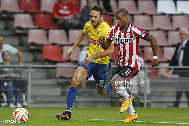 Yohan Tavares of Estoril Praia Luciano Narshingh of PSV during the UEFA Europa League match between PSV and GD Estoril Praia on September 18 2014 at...