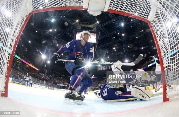 Yohann Auvitu and Florian Hardy of France during the 2017 IIHF Ice Hockey World Championship game between Finland and France at AccorHotels Arena on...
