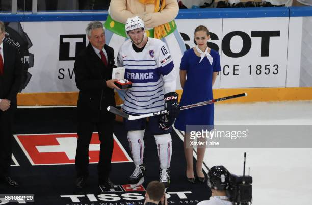 Yohann Auvitu of France best player of the gmae during the 2017 IIHF Ice Hockey World Championship game between Switzerland and France at AccorHotels...