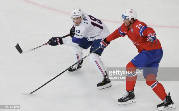 Yohann Auvitu of France in action during the 2017 IIHF Ice Hockey World Championship game between Norway and France at AccorHotels Arena on May 06...