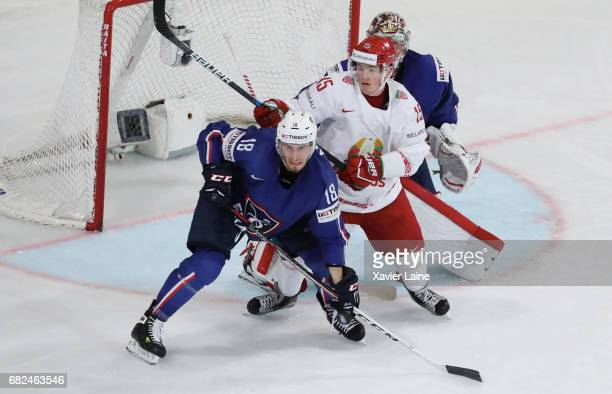 Yohann Auvitu of France in action during the 2017 IIHF Ice Hockey World Championship game between France and Belarus at AccorHotels Arena on May 12...