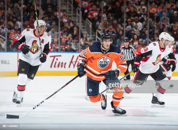 Yohann Auvitu of the Edmonton Oilers skates against the Ottawa Senators on October 14 2017 at Rogers Place in Edmonton Alberta Canada