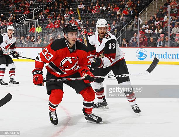 Yohann Auvitu of the New Jersey Devils skates against the Arizona Coyotes at the Prudential Center on October 25 2016 in Newark New Jersey