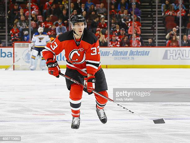 Yohann Auvitu of the New Jersey Devils skates during the game against the St Louis Blues at Prudential Center on December 9 2016 in Newark New Jersey