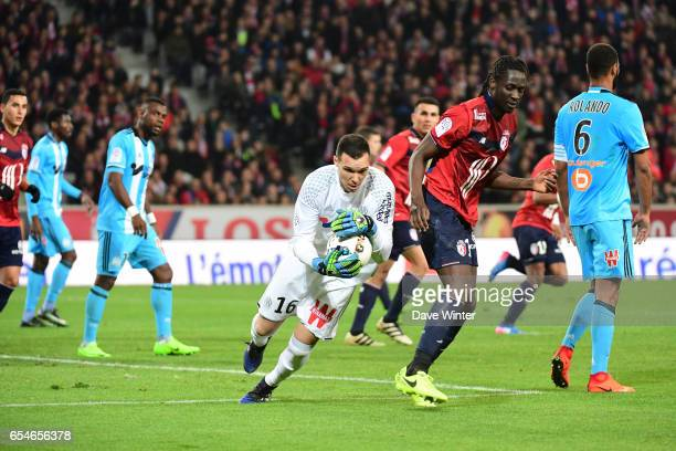 Yohann Pele of Marseille and Eder of Lille during the Ligue 1 match between Lille OSC and Olympique de Marseille at Stade Pierre Mauroy on March 17...