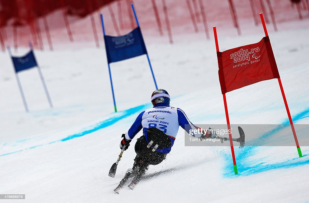 Yohann Taberlet of France competes in the Men's Giant Slalom Sitting during day eight of the Sochi 2014 Paralympic Winter Games at Rosa Khutor Alpine Center on March 15, 2014 in Sochi, Russia.