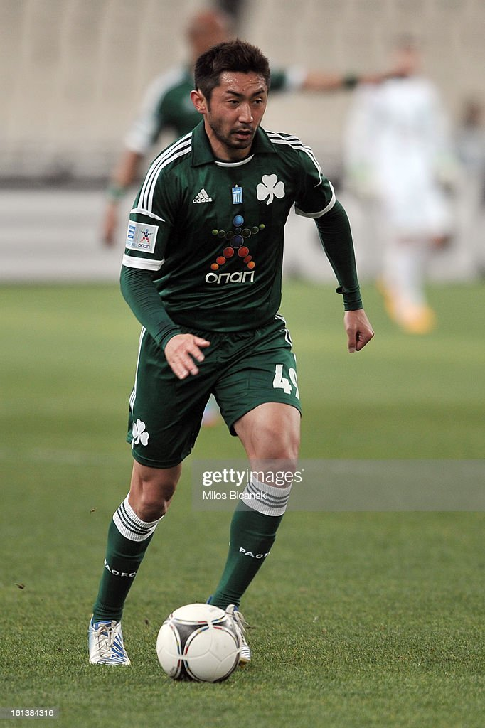 Yohei Kajiyama of Panathinaikos FC controls the ball during the Superleague match between Panathinaikos FC and Skoda Xanthi at OAKA Stadion on February 10, 2013 in Athens,Greece.