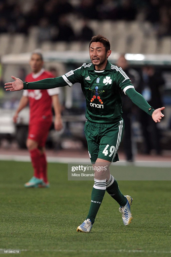 Yohei Kajiyama of Panathinaikos FC reacts during the Superleague match between Panathinaikos FC and Skoda Xanthi at OAKA Stadion on February 10, 2013 in Athens,Greece.