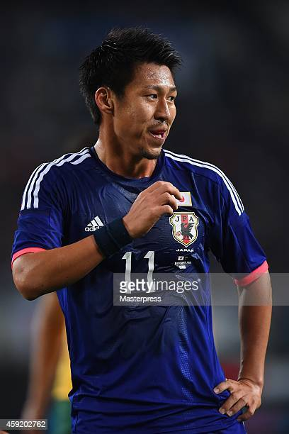 Yohei Toyoda of Japan in action during the international friendly match between Japan and Australia at Nagai Stadium on November 18 2014 in Osaka...