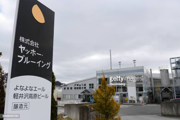 YoHo Brewing Co signage is displayed outside of the company's brewery in Saku Nagano Prefecture Japan on Friday Jan 6 2017 Craft brewers which...