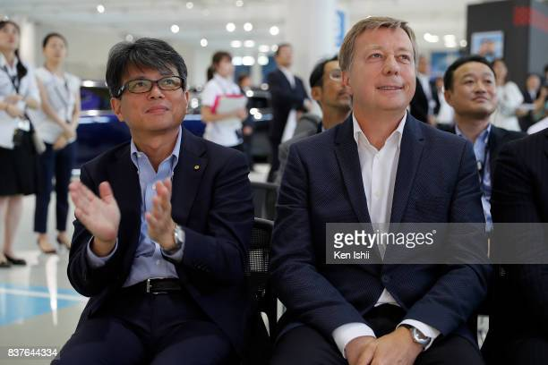 Yoichi Miyazaki Managing Officer and Didier Leroy Executive Vice President of TOYOTA MOTOR CORPORATION attend the 11th Toyota Dream Car Art Contest...