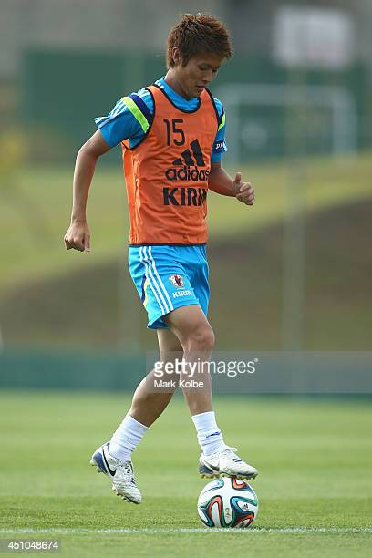 Yoichiro Kakitani controls the ball during a Japan training session at the Japan national team base camp at the Spa Sport Resort on June 22 2014 in...