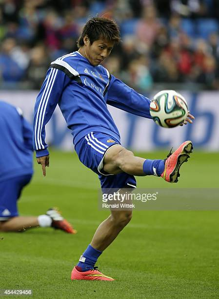 Yoichiro Kakitani of Basel at the warm up with the ball during the Raiffeisen Super League match between FC Basel and BSC Young Boys Bern at...