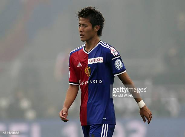 Yoichiro Kakitani of Basel reacts during the Raiffeisen Super League match between FC Basel and BSC Young Boys Bern at StJakobPark on August 31 2014...