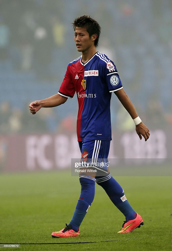 Yoichiro Kakitani of Basel reacts during the Raiffeisen Super League match between FC Basel and BSC Young Boys Bern at St.Jakob-Park on August 31, 2014 in Basel, Switzerland.